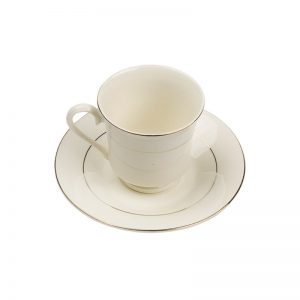 Charleston Ivory Gold Rim Footed Cup- 8 oz